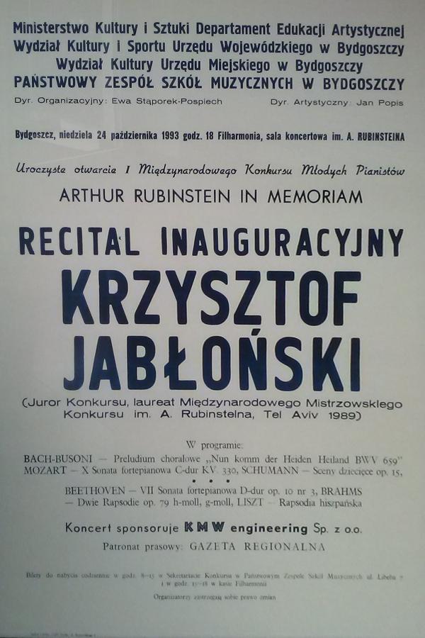 Plakat pierwszego konkursu pianistycznego w Bydgoszczy